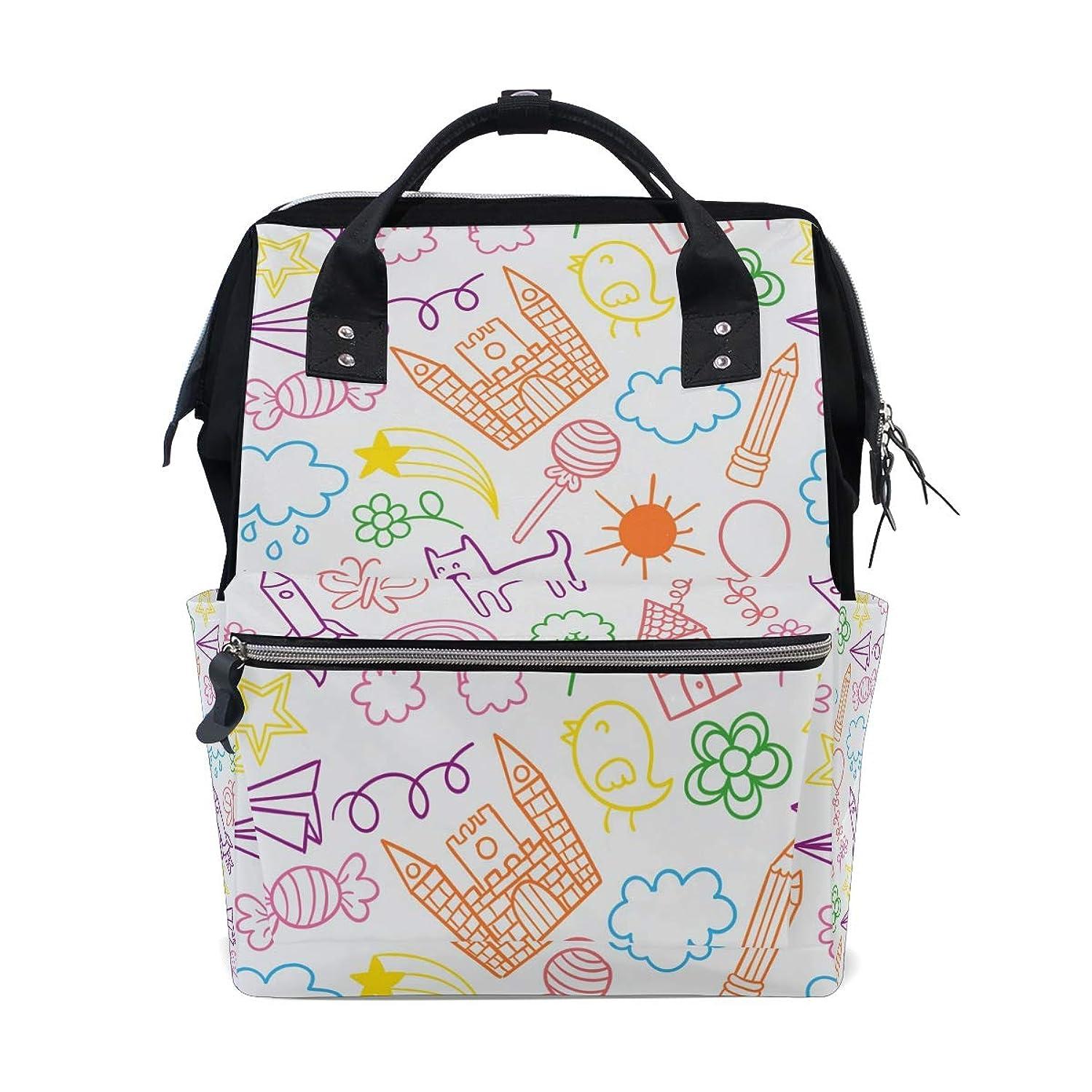 Backpack Children's Cartoon Painting School Rucksack Diaper Bags Travel Shoulder Large Capacity Bookbag for Women Men