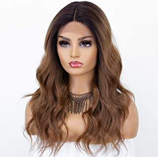 K'ryssma New Brown Ombre Lace Front Wig with Dark Roots Long Synthetic Wigs T Part Deep Middle Part Wavy Brown Wig for Wom...
