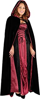 Charades womens Fully Lined Full Length Hooded Velvet Cape Costume Accessory, Black/Red, One Size US