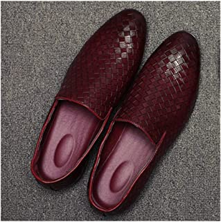 HaiNing Zheng Business Loafers for Men Casual Shoes Slip-on Smoking Slipper Knit Burnished Style Faux Leather Pointed Toe Flat Anti-Slip (Color : Red, Size : 9.5 UK)