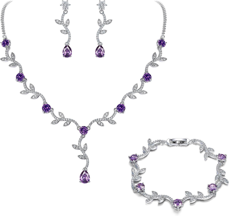Crysdue Wedding Vine Jewelry Set, Cubic Zirconia Elegance Teardrop Necklace Dangle Earrings for Women, Sunflower Leave Bridal Jewelry