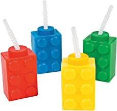 Fun Express Brick Block Party Cups (Set of 8 with Straws) Party Favor Supplies