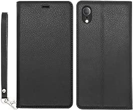 iPhone XR ケース 手帳型 薄型 耐衝撃 ススマホケース 軽量 カード収納 スタンド機能 ストラップ付き ハンドメイド 本革 アイフォンXRケース ワイヤレス充電対応 マグネット式 携帯カバー 6.1インチ (iPhone XR, ブラック)