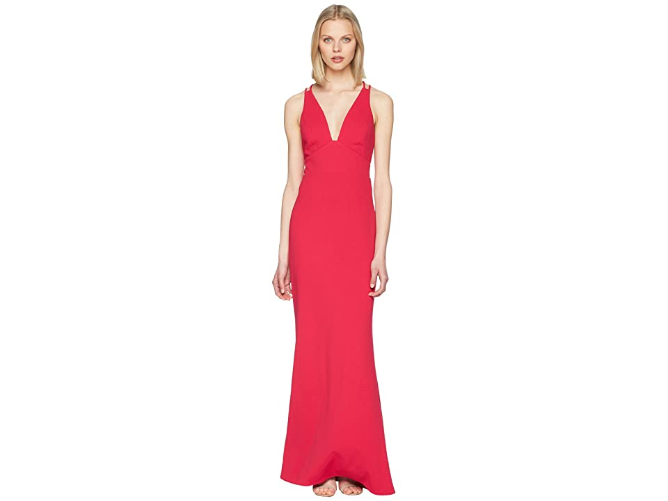 Badgley Mischka V-Neck Lightweight Crepe Gown (Fuchsia) Women