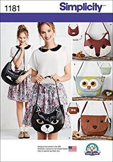 Simplicity US1181OS Cute Animal Purse Sewing Patterns, One Size Only