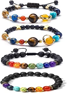 4 Pieces Adjustable Lava Rock Stone Bracelet Essential Oil Diffuser Bracelet Solar System Bracelets Set Aromatherapy Yoga Bracelet for Women Men