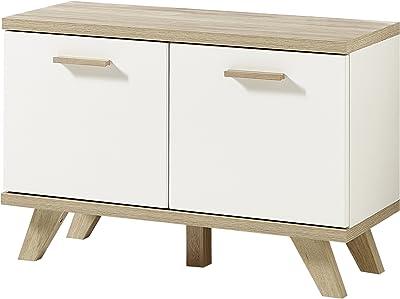 Germania Bench GW Oslo Shoe Bank 3462, Bois Dense, White/Sanremo-Oak Repro, 76 x 52 x 35 cm
