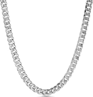 Nautica 2.3mm 20 Inch Miami Cuban Chain Necklace for Men or Women in Rhodium Plated Brass