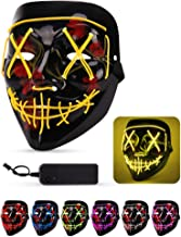Lizber Halloween Mask, Led Light Up Mask with Neon Wires, Adjustable Scary Masquerade Glow Mask for Festivals, Parties, Carnivals and Raves, Glowing Mask for Men, Women, Kids, Sunny Yellow