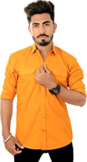REBANTA Casual Shirt for Men Mustard Yellow Plain Pure Cotton