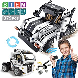 GAMZOO 379 Pieces STEM Building Toys 2-in-1 Remote Control Car   Technic Building Block Racecar and Off-Road Truck Best Gift for Boys and Girls Age 6,7,8 and 9+