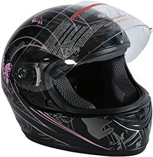 TCMT DOT Motorcycle Butterfly Flip Up Full Face Street Dirt Bike Adult Helmet (Black, L)