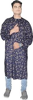 Lakkar Haveli Men's Shirt Gold Print Tunic Loose Fit Kurta Shirt Blue Color Plus Size