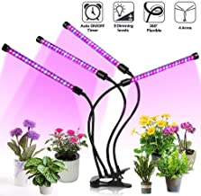 Garwarm Grow Light for Indoor Plants,4 Head 72 LED Plant Grow Lights with Red Blue Spectrum,9 Dimmable Levels,3 9 12H Timer,Adjustable Gooseneck,3 Switch Modes