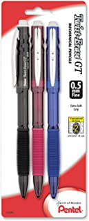 Pentel Twist-Erase GT (0.5mm) Mechanical Pencil, Assorted Barrel Colors, Color May Vary, Pack of 3 (QE205BP3M)