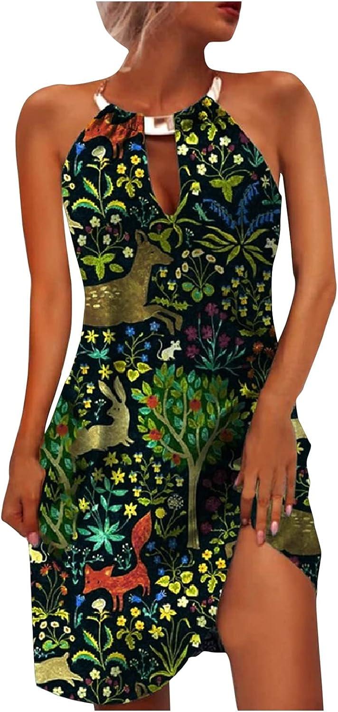 Toeava Women Dress, Women's Fashion Sexy Summer Sleeveless Deep V Backless Floral Printing Dress Party Beach Mini Dress