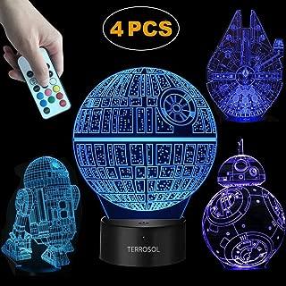 Terrosol 3D Star Wars Lamp - Star Wars Gifts - 4 Pattern&1 Base&1 Remote - Star Wars R2-D2/Bb8/Death Star/Millennium Falcon - Star Wars Light - Star Wars - Optical Illusion Led Light - Star Wars Lamp