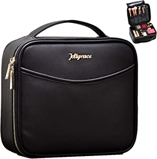 Makeup Train Case Travel Cosmetic PU Leather Makeup Bag with Adjustable Divider Extra Pocket Portable Travel Make Up Organizer Storage for Women - Black