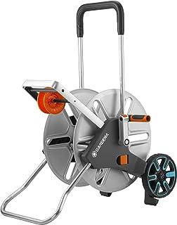 GARDENA AquaRoll L Easy Metal: carro portamanguera grande, capacidad de hasta 100m, muy estable, guía para manguera con bastidor metálico (18550-20)