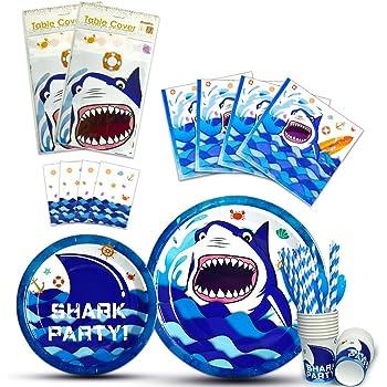 Kindergeburtstag Table Cover Cloth Mottoparty Deko Hai Haifisch Shark Fische HAIE Tischdecke f/ür Party und Geburtstag