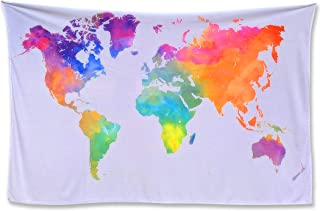 World Map Tapestry Watercolor Tapestry Map - Tapestry of the World Light Pink Blue White Tapestry World Map. Colorful Decorative Wall Hanging Earth Globe Tapestries Dorm Bedroom Travel Classroom Decor