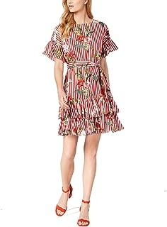 Floral Striped Print Women's Sheath Dress