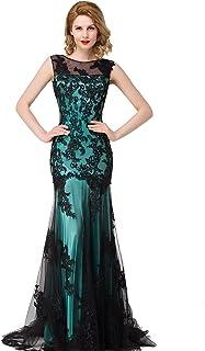 172839aaa Babyonlinedress Scoop Neck Mermaid Black Lace Applique Evening Prom Dress