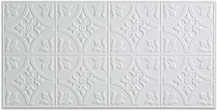 Fasade Easy Installation Traditional 2 Gloss White Glue Up Ceiling Tile / Ceiling Panel (2' x 4' Panel)