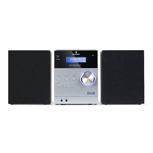 auna MC-20 DAB Minicadena • Equipo estéreo hi-fi • 2 vías • Potencia de salida: 2 x 5W • Bluetooth • Pantalla LCD • Sintonizador digital DAB(+) • Sintonizador analógico VHF • Control remoto • Plateado