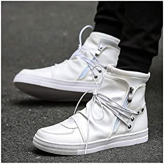 Mens Backpacking Boots Hip Hop Dance Men Soft Leather White Shoes Fashion High Top Men's Casual Shoes Breathable Cross Tied Black