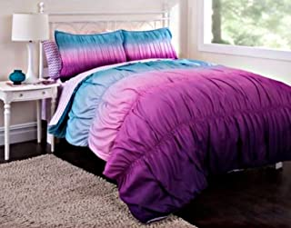 7pc Girl Purple Reversible Tie Dye Queen Comforter Set (7pc Bed in a Bag)