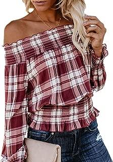 LISTHA Plaid Blouse Off Shoulder Women Long Sleeve Autumn Sexy Tops T-Shirt