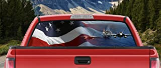 M22 American Waving Flag Air Craft Carrier and Jets Taking Off Full Color Back Window Graphic Decal Truck Backscape 66 X 20 Inches