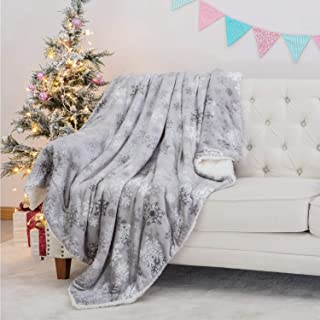 Bedsure Metallic Sherpa Fleece Christmas Blanket for Sofa, Couch and Bed - Soft & Cozy - Plush Blanket for Outdoor, Indoor, Camping, Gifts - Grey, 60x80 inches