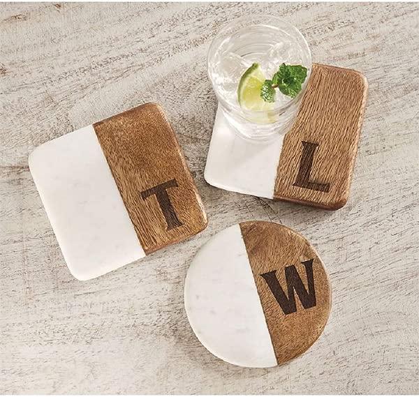 Mud Pie Seasonal Wood Marble Initial Coaster J