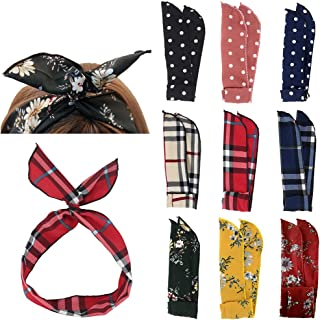Carede Twist Bow Wire Headbands Head Wrap Retro Bowknot Polka Dot Lattice Design Rabbit ear Wired Hairbands Hair Holder Hair Accessory for Women and Girls,Pack of 9