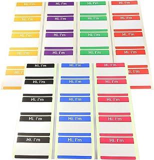 Royal Flush 【Hi. I'm】名札ラベルシール 7色(レッド、パープル、イエロー、グリーン、ピンク、ブルー、ブラック)70枚セット 日本製
