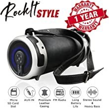 Woozik Rockit Style / S29 Wireless Speaker, Outdoor/Indoor Bluetooth Boombox - with Micro SD Card Slot, Aux, Back-lit LED Light, FM Radio, Rechargeable, Leather Cover & Strap, and 4