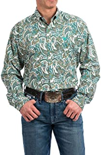 Men's Classic Fit Long Sleeve Button One Open Pocket Print Shirt