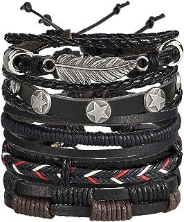 Leather Wrap Boho Bracelet Handmade Braided Bead Adjustable Layer Bracelet Set Cuff for Man Woman