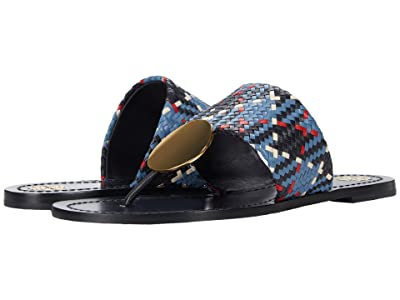Tory Burch Patos Disk Sandal (Woven/Blue Woven) Women