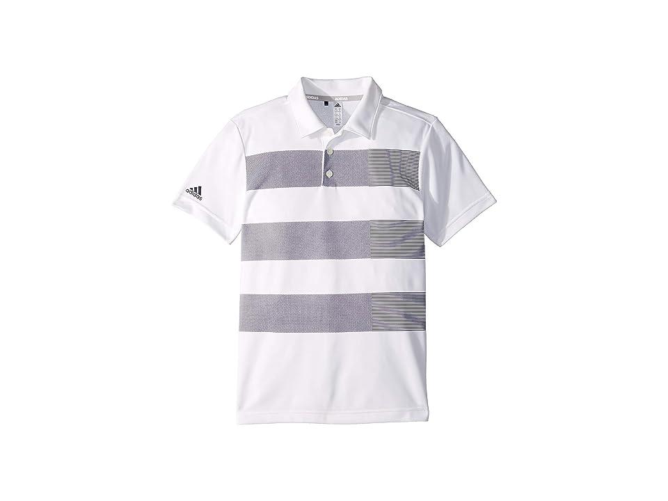Image of adidas Golf Kids Three Stripe Polo (Little Kids/Big Kids) (White) Boy's Short Sleeve Knit