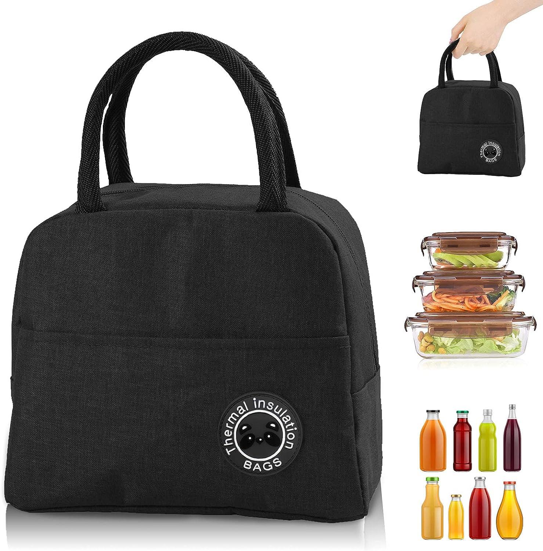 Bolsa Termica, Bolsa del almuerzo Porta Alimentos Organizador del Almuerzo Titular de Almuerzo Contenedor de Almuerzo Térmicas para Llevar Almuerzo para Trabajo Oficina Playa Viaje (negro)