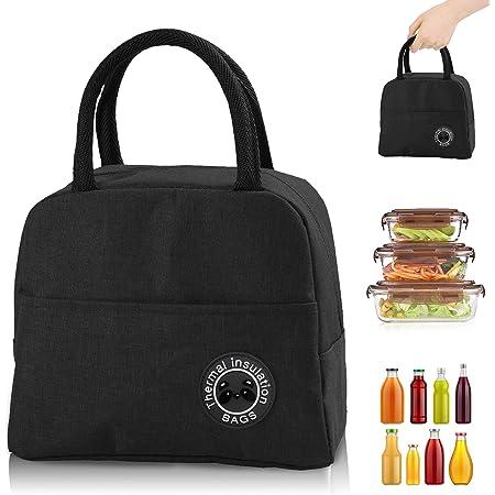 Sac Isotherme Repas, Sac de Transport Repas Lunch Bag Portable Sac Lunch Box Bag à Déjeuner Waterproof, pour Bureau l'école Voyage Camping Repas Préparés (noir)