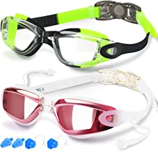 Swim Goggles, Pack of 2, Swimming Goggles No Leaking Anti Fog Protection Triathlon for Adult Men Women Youth Kids Child, with Mirrored & Waterproof, Protection Clear Lenses