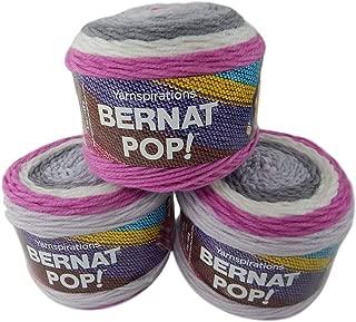 Bernat Pop Worsted Medium #4 Weight Self-Striping 3-Pack Acrylic Yarn 5 Ounces 280 Yards (Cosmic)