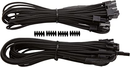 Corsair CP-8920179 Premium Individually Sleeved PCIe Cables with Dual Connectors, Black, for Corsair PSUs