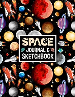 Space Journal and Sketchbook: Rocket Spaceship Practice Paper How to Draw Workbook Blank & Lined Pages for Sketching & Not...