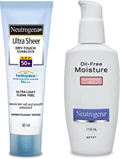 Neutrogena Ultra Sheer Dry Touch Sunblock, SPF 50+, 30ml and Neutrogena Oil Free Moisture For Combination Skin, 118ml