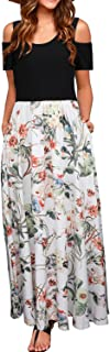 STYLEWORD Women's Summer Cold Shoulder Floral Print Elegant Maxi Long Dress with Pocket